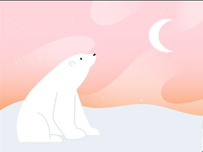 Mooning discover sparkle pink illustration outdoors outside animals snowy sky dusk winter snow polar bear moon polarbear