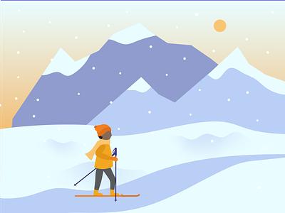 Scenic Ski toque weathered purple gradient canada mountains sun snowy cold snow outoors sunset sunrise winter sports winter ski skiiing yellow blue purple illustration