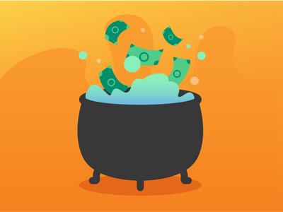 Witch better have my money drip aqua teal green orange mix brew witches witchy witch gradiet bubbles poison potion cauldron money halloween