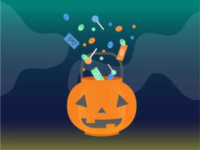 Halloween 4ever bucket scary light gradient dark spooky candy bar trick-or-treat trickortreat candy pumpkins pumpkin jackolantern jack-o-lantern halloween