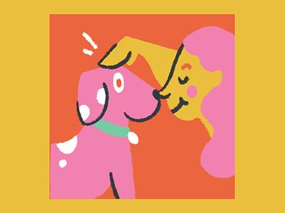 Too Many Pets cute smile blush mustard yellow red pink girl pet quarentine puppy coronavirus stayhome doggo dog pup