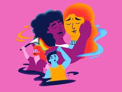 IDAHTB - The story of power & love texture story powerful love is love love gay bisexual bi trans lgbtqia lgbtq pride people pink illustration