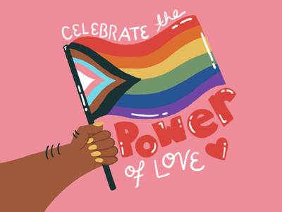 IDAHTB - Celebrate the Power of Love bi trans gay pride rainbow white procreate drawing typography love powerful lgbtqia lgbtq celebrate hands arm nails body pink