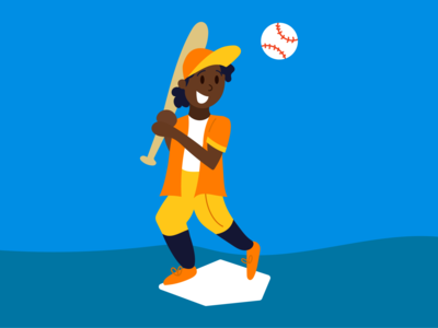 Schwing! blue yellow orange vector illustration sports illustration baseball hat baseball cap diamond pitch bat swing baseball bat sports baseball