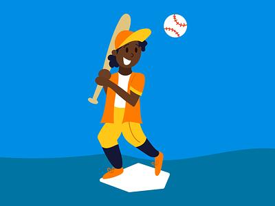 Schwing! blue yellow orange vector illustration sports illustration baseball hat baseball cap diamond pitch bat swing baseball bat sports baseball