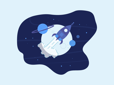 Over the moon jet jets stars planet dark galaxy galactic space rocket illustration