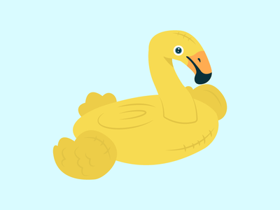 Yellow Flamingooo blow-up wing yellow summer water fly bird beak floaty pool float flamingo