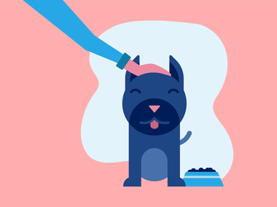 Good Boi pet food feed eat love loving animal pet petty dog food navy blue pink blue illustration dog
