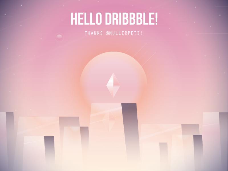 Hello Dribbble! star scifi illustration crystal dribbble hello