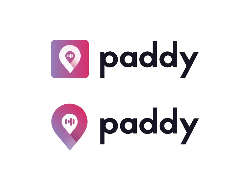 Paddy Logo Design purple red text icon gradient paddy logo