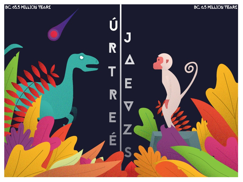 Redesign design illustration rock colorful leaf leaves monkey dinosaur redesign