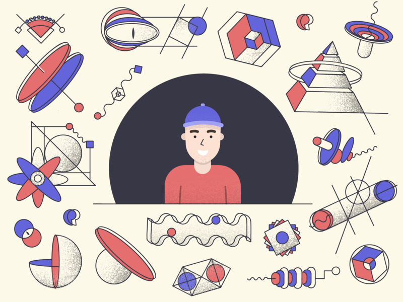 Mind pyramid thing creativity illusion optical hat design illustration geometric people mind