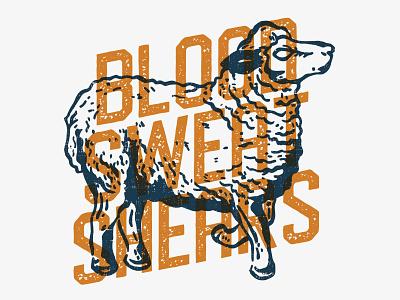 Sheep Battle Cry grunge type illustration shears sweat blood sheep