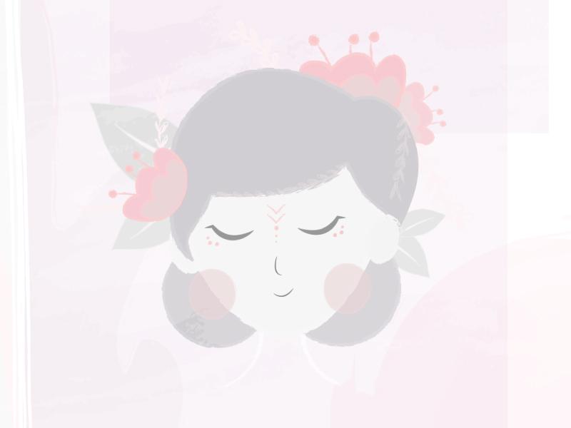 Happy mind. bloom meditate peace mind illustration animation flower girl