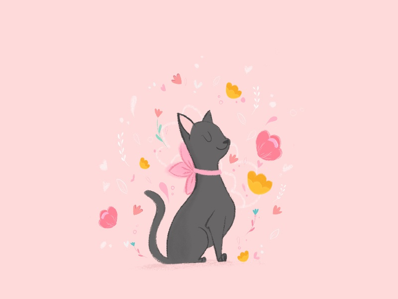 Cat. cat illustration flowers illustration cat