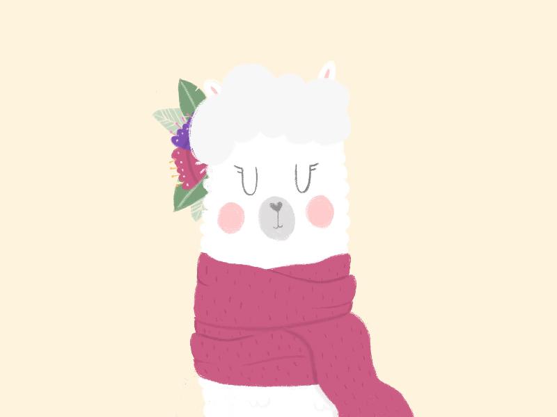 Alpaquita. winter scarf flowers alpaca