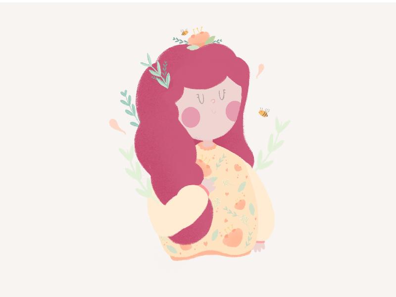 Girl with flowers. girl character sweater hair flower girl