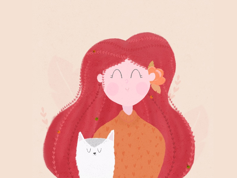 Girl and dog. autumn sweater redhair flower dog girl