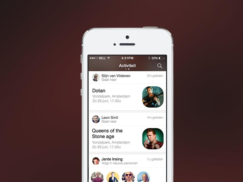 Gibble Activity screen iphone ios design ui