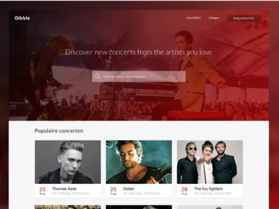 homepage  web music concerts ui ux design interface