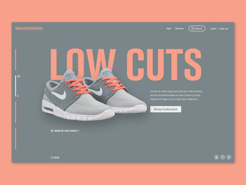 Low Cuts web typography branding ui design