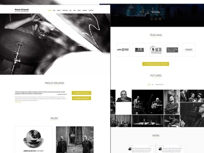 Musician - One page site personal site one page minimal teaching drums music
