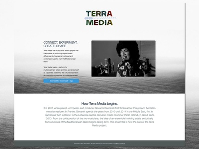 Artistic music project - Landing page