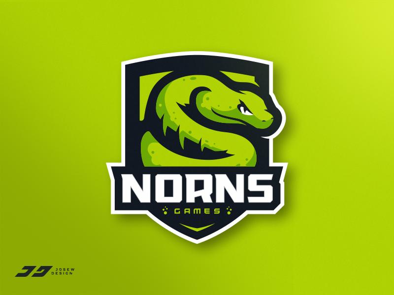 Nornsgames Snake Mascot Logo snake gaming badge emblem branding mascot esports identity brand sports logo