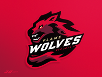 Flame Wolves - Fire Wolf Mascot Logo