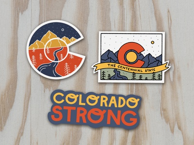 CO Strong Sticker Pack sticker pack forest river moon stars colorado sticker nature illustration mountain illustration illustration mountain logo sticker mule sticker design stickermule sticker stickers colorado strong mountains colorado