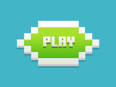 Play Button voxel pixel play green design game videogame ui