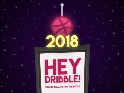 Hey Dribbble, 2018 style! ball drop new year 2018 newyear illustration firstshot debut