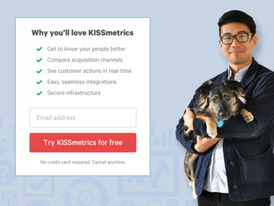 Why you'll love KISSmetrics branding signup form dog person website page cta signup form ux ui landing page