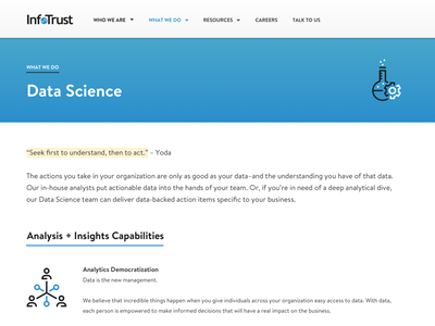 InfoTrust Marketing Site Redesign icons menu website landing page minimalist interface web app ux ui marketing navigation