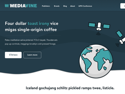 Landing page for Mediavine icons marketing navigation space website web visual design ui simple product page landing page clean