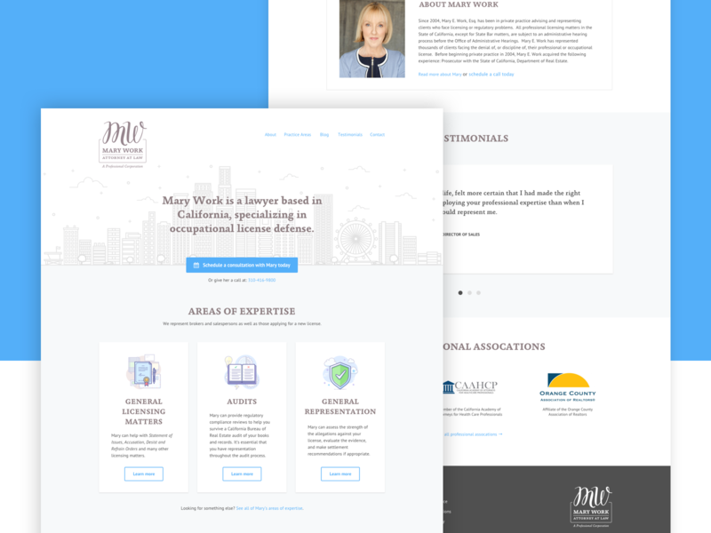 Website for Mary Work, Esq. blue gray wordpress branding design design ux website branding landing page lawyer simple ui clean icons marketing homepage redesign layout cta