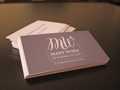 Mary Work Branding/Business Card print design graphic design mark initials font logo design marketing branding logo business card
