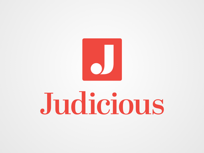 Logo for Judicious ux ui minimalist logo mark wordmark logotype simple font identity marketing branding red j logos logo design logo