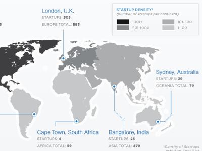 Startup Density Map map density density map cartography australia india sydney bangalore london uk united kingdom south africa cape town kissmetrics infographic data data visualization infographics chart diagram angellist brazil sao paulo us united states silicon valley