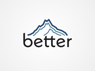 Logo for Better wordmark ux ui simple mountain blue minimalist marketing logotype logo mark logo design logo logos identity font branding