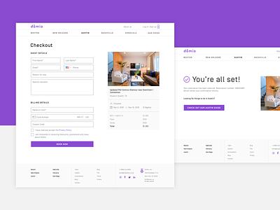 App Designs for Domio design website interaction interface navigation booking app payment form payment pay checkout form form web app design web app checkout purple product design ux ui app