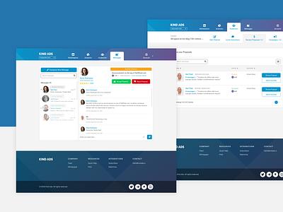 App Designs for Kind Ads submenu table messages email mail gradients blue web app design application design menu design navigation menu crypto currency app design product design ux ui