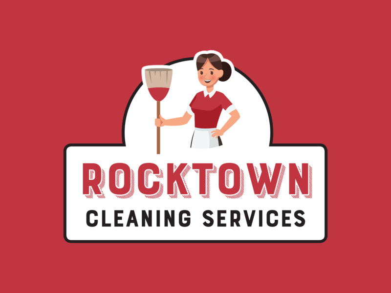 Rocktown Cleaning Services Logo cleaning branding design logo design red vector branding logo