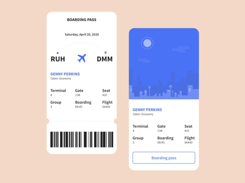 Boarding Pass UI boarding pass