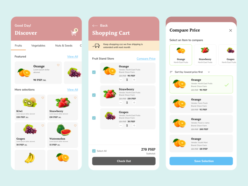 Shopping Cart App UI clean ui colorful ui candy ui shopping cart shopping cart ui cart ui