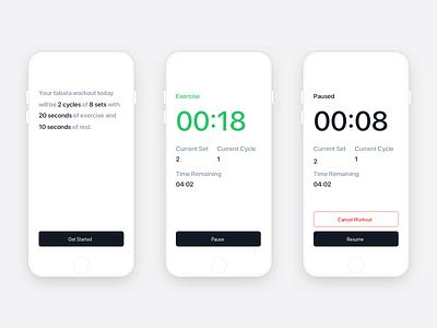 Tabata iOS App interface clean app light minimal ios workout tabata