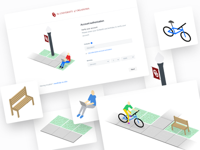 Isometric Process signin signup college university process design isometric illustration ux sign up sign in splash page