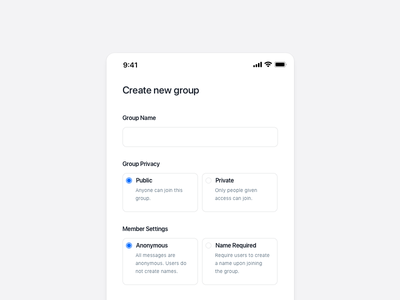 forms new create message group chat choice option selectable field ux ui form