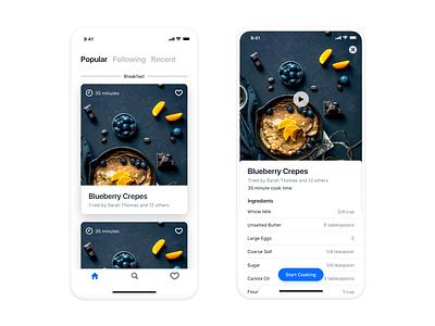 Social Cooking framer cards cooking recipe minimal design ux ios app