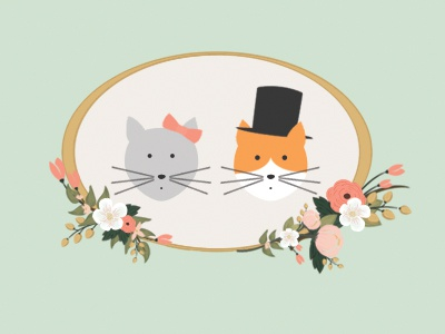 Kitties cats cat kitty bride groom eloise hugo invitation wedding stationery stationary rsvp